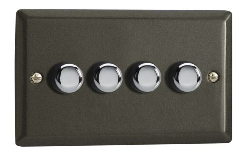 Varilight JPDP254 Classic Graphite 21 4 Gang 2-Way Push-On/Off LED Dimmer 0-120W V-Pro